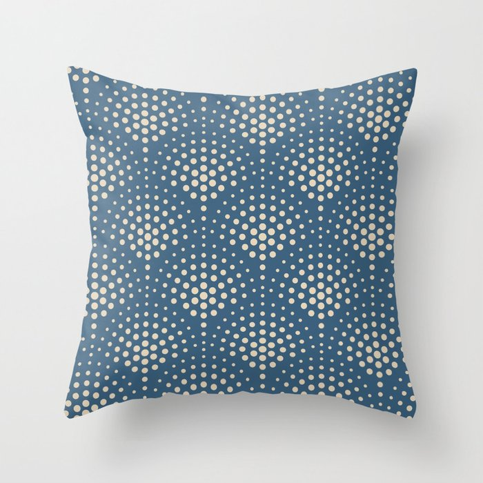 Beige Polka Dot Scallop Pattern on Blue Pairs To 2020 Color of the Year Chinese Porcelain PPG1160-6 Throw Pillow