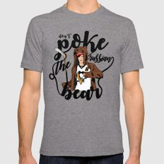 Don't Poke the Russian Bear Tri-Grey LARGE Mens Fitted Tee