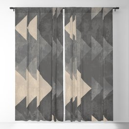 Geometric triangles abstract pattern - Gray tones & Beige Blackout Curtain