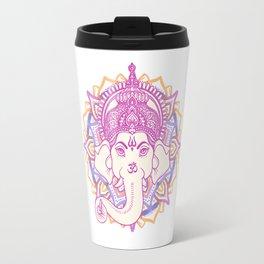 Ganesha elephant god on hand painted mandala Travel Mug