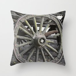 Raw Chariot Wheel Throw Pillow
