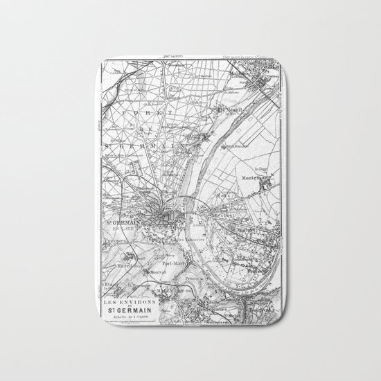 Vintage Paris Map Bath Mat