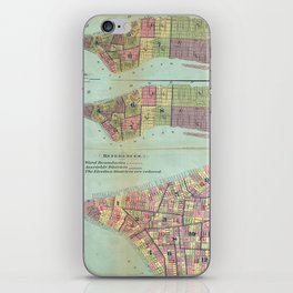 Vintage NYC Political Ward Map (1870) iPhone Skin
