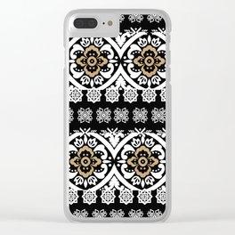 Modern black white faux gold glitter motif pattern Clear iPhone Case