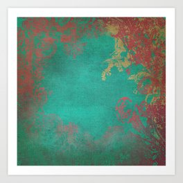 Grunge Garden Canvas Texture:  Pink and Turquoise Floral Art Print