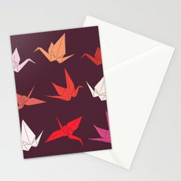 Japanese Origami paper cranes sketch, symbol of happiness, luck and longevity Stationery Cards