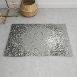 In Love Sparkling Glitter Hearts #3 (Faux Glitter) #silver #decor #art #society6 Rug