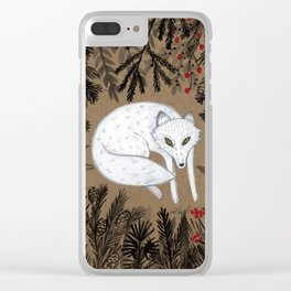 white fox in forest, woodland flora, black and white and red Clear iPhone Case