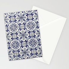 Portuguese tiles pattern blue Stationery Cards