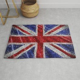 Glitter Union Jack Flag UK Rug
