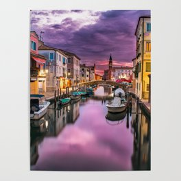Venice Italy Canal at Night Poster
