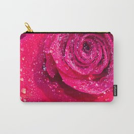 Spirals Of Rain Drops On A Red Rose Carry-All Pouch