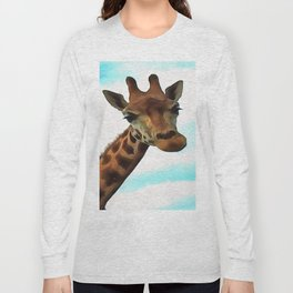 Hello up there! Fun Giraffe With Nerdy Expression Long Sleeve T-shirt