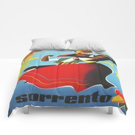Vintage Sorrento Italy Travel Poster Comforters