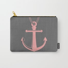 Charcoal and Pink Anchor and Stripes Carry-All Pouch