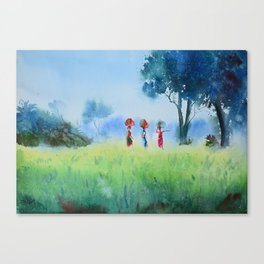 fields and workers Canvas Print