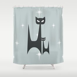 Mid Century Atomic Blue Cats Shower Curtain