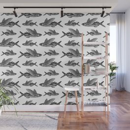 Flying Fish | Black and White Wall Mural
