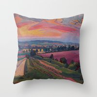 gore Throw Pillows featuring Spencer Gore - The Icknield Way by ArtMasters