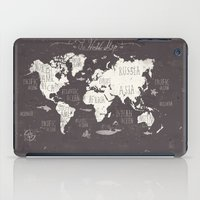 gray iPad Cases featuring The World Map by Mike Koubou