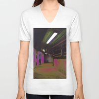 holographic V-neck T-shirts featuring Basement 2 by Ieva Samsina