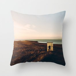 Worlds loneliest bus stop Throw Pillow