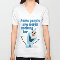 olaf V-neck T-shirts featuring OLAF by DisPrints