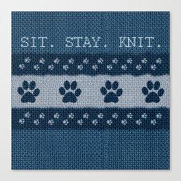 Pet Lover, Knitter, Artist. Blue. Canvas Print