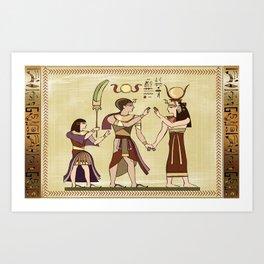 Calling to the Gods Egyptian Folk Art Art Print