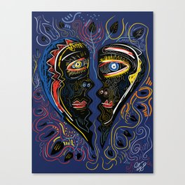 Love is Communication Street Art Graffiti Primitive Art Canvas Print