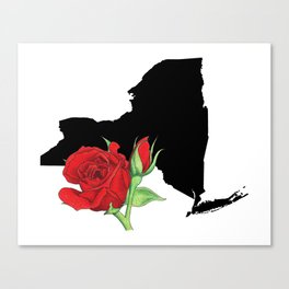New York Silhouette and Flower Canvas Print