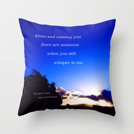 """Flickering Sunset"" with poem: There Are Moments Throw Pillow"