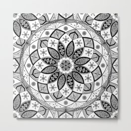 Mandala black white art pattern floral design Metal Print