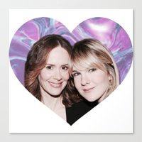 sarah paulson Canvas Prints featuring Sarah Paulson and Lily Rabe AHS Freakshow by IrasHorrorStory
