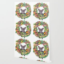 Frenchie in the christmas wreath Wallpaper