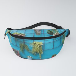 Green Leaves on a Turquoise Wall Fanny Pack
