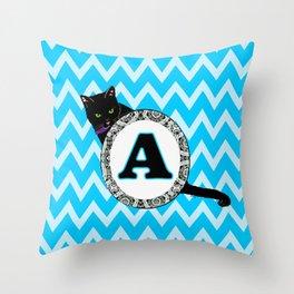 Letter A Cat Monogram Throw Pillow