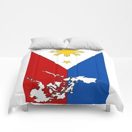 Philippines Flag with Filipino Map Comforters