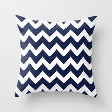 Indigo Navy Blue Chevron Throw Pillow