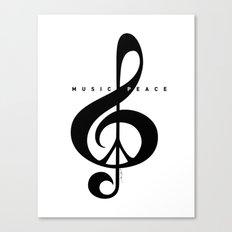 Black & White, Music & Peace  Canvas Print
