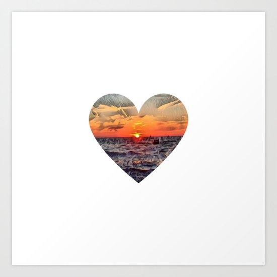 Sunset Heart Love (Valentine's Day Gifts / Girlfriend Valentine Gift) Art Print
