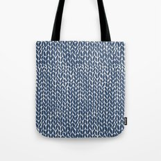 Hand Knit Navy Tote Bag