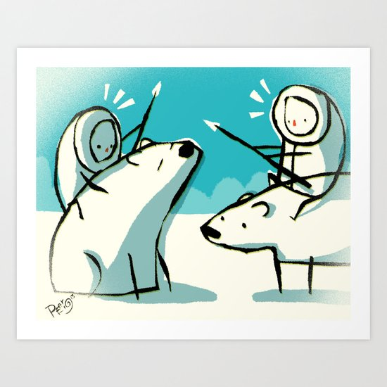 Meanwhile in the north pole Art Print