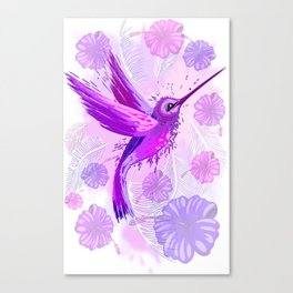 Hummingbird Spirit Purple Watercolor Canvas Print