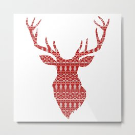 Christmas Jumper Red and White Pattern Metal Print