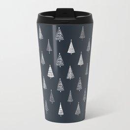 Rustic Christmas Trees on Black Carbon Travel Mug