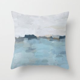 Navy & Baby Blue Abstract Nature Art Painting Throw Pillow
