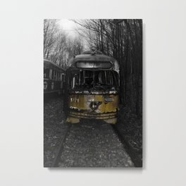 Black and white abandon trolley grave yard with a splash of yellow Metal Print