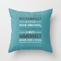 oscar wilde Throw Pillows featuring Oscar Wilde - poster by Katya Sarria