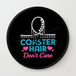 Roller Coaster Hair Dont Care Funny Theme Park Wall Clock